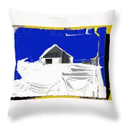 Barn Snow Storm Rc Guss Photo 1951 Collage St. Paul Park Minnesota Color Drawing Added Throw Pillow