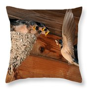 Barn Swallow Nest Throw Pillow by Scott Linstead