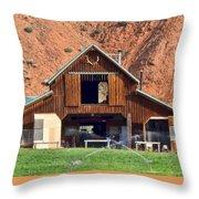 Barn Ten Sleep Wyoming Throw Pillow