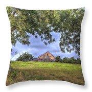 Barn Under A Tree. Throw Pillow