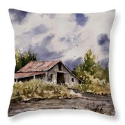 Barn Under Puffy Clouds Throw Pillow