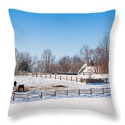 Barn With Horses  Throw Pillow