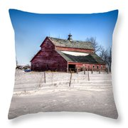 Barn With Melting Snow Throw Pillow