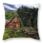 Barn With Purple Flowers Throw Pillow