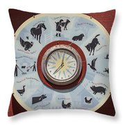Barn Yard Clock Throw Pillow