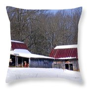 Barns And Horses In Winter Throw Pillow