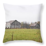 Barns In The Mist Throw Pillow