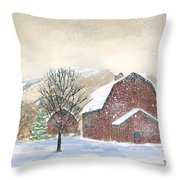 Barns In Winter Throw Pillow
