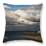 Barns Ness Lighthouse  East Lothian Throw Pillow