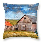 Barns On Maple Street Throw Pillow