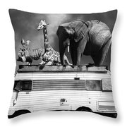 Barnum And Bailey Goes On A Road Trip 5d22705 Vertical Black And White Throw Pillow