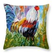 Barnyard Rooster Throw Pillow by Barbara Pirkle