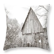 Barnyard Snowfall Throw Pillow