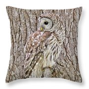 Barred Owl Camouflage Throw Pillow