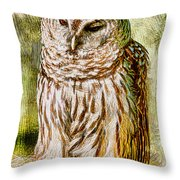 Barred Owl On Moss Throw Pillow