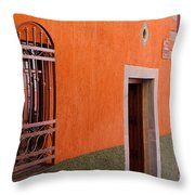 Barred Window, Mexico Throw Pillow