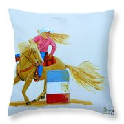 Barrel Racer Throw Pillow