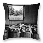 Barrels Of Beans - Bw Throw Pillow