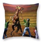 Barrington Harvey Looks On Horse Peekarandoconer Moment Throw Pillow