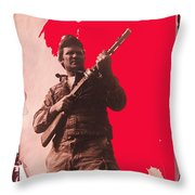 Barry Sadler Machine Gun Authentic Ww2 Africa Korps Hat Camouflage Clothes Collage Tucson 1971-2012 Throw Pillow