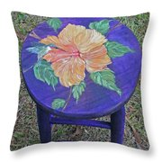 Barstool Hibiscus Throw Pillow