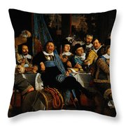Bartholomeus Van Der Helst Banquet Of The Amsterdam Civic Guard In Celebration Of The Peace Of Munst Throw Pillow