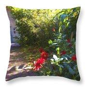 Bartram Red Flowers Throw Pillow