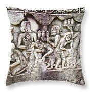 Bas-reliefs Of Khmer Daily Activities In The Bayon In Angkor Thom-cambodia  Throw Pillow