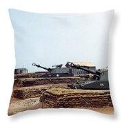 Base Camp Artillery Guns Self-propelled Howitzer M109 Camp Enari Central Highlands Vietnam 1969 Throw Pillow