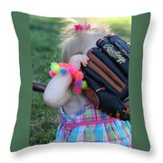 Baseball And Little Girls Throw Pillow