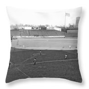 Baseball At Yankee Stadium Throw Pillow by Underwood Archives
