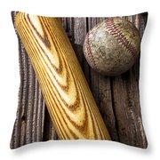 Baseball Bat And Ball Throw Pillow by Garry Gay