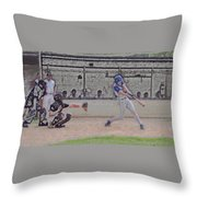 Baseball Batter Contact Digital Art Throw Pillow by Thomas Woolworth
