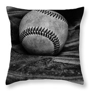 Baseball Broken In Black And White Throw Pillow