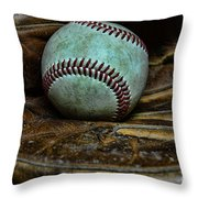 Baseball Broken In Throw Pillow by Paul Ward