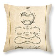 Baseball By John E. Maynard - Vintage Patent Document Throw Pillow