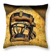 Baseball Catchers Mask Vintage  Throw Pillow