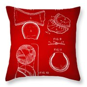 Baseball Construction Patent 2 - Red Throw Pillow by Nikki Marie Smith