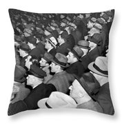 Baseball Fans At Yankee Stadium For The Third Game Of The World Throw Pillow
