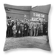 Baseball Fans Waiting In Line To Buy World Series Tickets. Throw Pillow