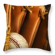Baseball Glove And Baseball Throw Pillow by Chris Knorr