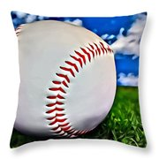 Baseball In The Grass Throw Pillow