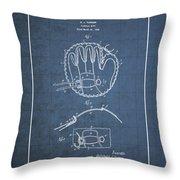 Baseball Mitt By Archibald J. Turner - Vintage Patent Blueprint Throw Pillow