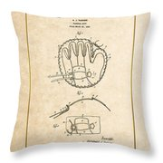 Baseball Mitt By Archibald J. Turner - Vintage Patent Document Throw Pillow