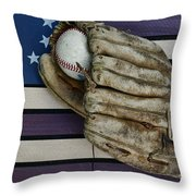 Baseball Mitt On American Flag Folk Art Throw Pillow