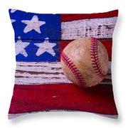 Baseball On American Flag Throw Pillow
