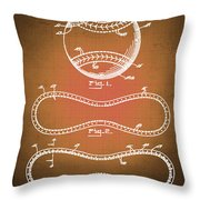 Baseball Patent Blueprint Drawing Sepia Throw Pillow