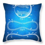 Baseball Patent Blueprint Drawing Throw Pillow