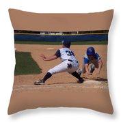 Baseball Pick Off Attempt Throw Pillow
