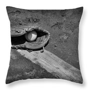 Baseball Pitchers Mound In Black And White Throw Pillow by Paul Ward